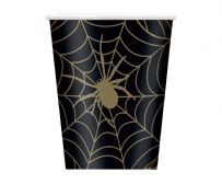 Black & Gold Spider Web Paper Cups (8)